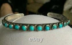 Vintage 1950's/early 60's Native American Sterling & Turquoise Bracelet