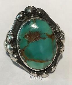 Vintage Early 1920's Navajo Indian Turquoise Ingot Silver Ring Size 5-1/2