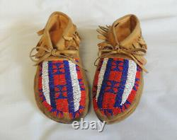 Vintage Early 20th Century Native American Leather And Beaded Moccasins (#2)