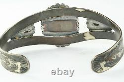 Vintage Early Bell Trading Post Tooled Sterling Silver Turquoise Cuff Bracelet