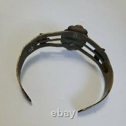 Vintage Early Native American Navajo Sterling Silver Cuff Bracelet W Turquoise