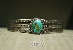 Vintage Early Navajo Ingot Sterling Silver Turquoise Cuff Bracelet c. 1920's