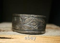 Vintage Early Navajo Native American Coin Silver Cuff Bracelet