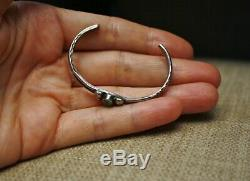 Vintage Early Navajo Sterling Silver Turquoise Baby Child's Cuff Bracelet