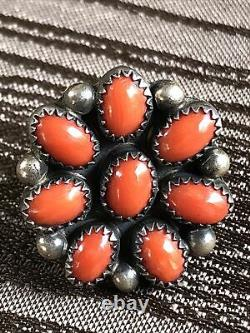 Vintage NAVAJO Very Early THOMAS NEZ Red Coral Sterling Silver Ring Size 4.75