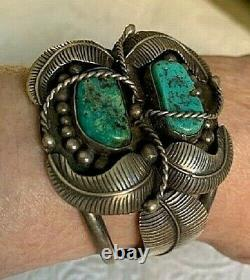 Vintage Native American 1960's/early 70's Sterling & Turquoise Feather Cuff Br