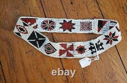 Vintage Native American Beaded Headband with Whirling Log & Other Tribal Symbols