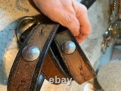 Vintage Navajo Concho Belt Buckle Early Leonard Maloney Buffalo Nickel Studs 34