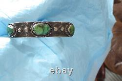Vintage Old Pawn Early Green Turquoise Sterling Navajo Native American Bracelet