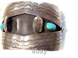Vintage Sterling By V E Navajo Native American Early Turquoise Watch Bracelet