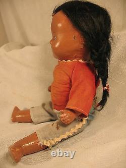 Vintage old early Earle Pullan Native American Indian girl doll composition 1945