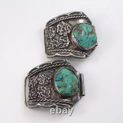 Vtg Early Sterling Silver Native American Turquoise Men's Watch Ends Tips LHC5
