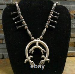 Wow! Early Navajo Yei Kachina Sterling Squash Blossom Necklace Native Old Pawn