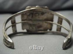 Wow! Very Early Deposit #8 Turquoise Vintage Navajo Sterling Silver Bracelet Old