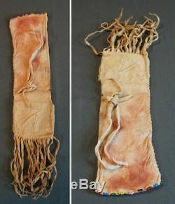 1900 Au Début Amérindien De 1920 Petite Taille Perlée Exceptionnellement Sac Pipe