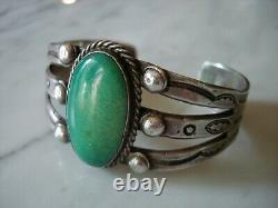 1920's Navajo Cerrillos Turquoise Ingot Bracelet En Argent Cuff Early Peshlaki Era