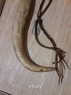 19e C Native American Indian Elk Horn Riding Crop Whip Quirt Très Tôt