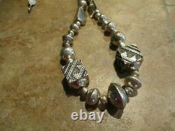 29 Early Tommy Singer (d.) Navajo Sterling Silver Designer Bead Collier
