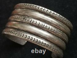 60 Grammes ! Bracelet De Manchette En Argent D'lingot D'argent De 5 Rangs Amérindiens De 5 Rangées