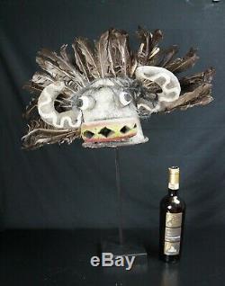 96 # Du Début Au Milieu Du 20ème Siècle Kachina Masque En Cuir / Casques Hopi