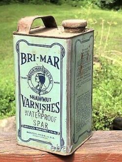 Amazing Early Bri-mar Shawmut Vernis Boston Ma Amérindienne Américaine Étain Can
