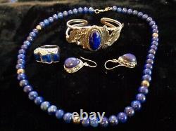 Amazing Vintage Navajo Lapis Sterling Silver Bracelet Plus Autres Pc Assortis