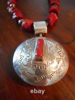 Amérindienne Précoce Grand Rare Collier De Corail Avec Pendentif De Chute Sterling
