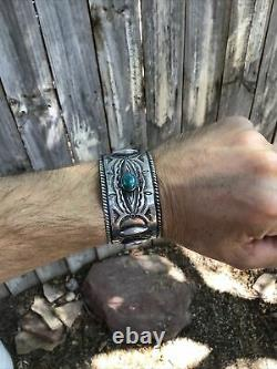 Ancien Bracelet Navajo Poignet Vintage Old Pawn Early Coin Silver Wide Excellent