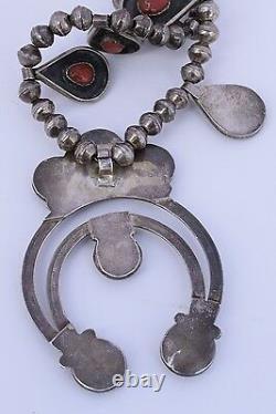 Ancienne Fleur De Courge D'argent Et De Corail Native Américaine Collier Navajo