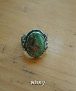 Anneau Navajo Vintage Précoce Avec Grande Pierre Turquoise