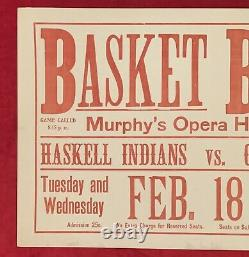 Antique 1908 Haskell Indian School Basketball Broadside Native American Early