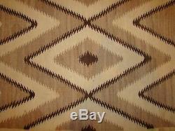 Antique All Natural Navajo Blanket Enfant, Début Amérindien Tissage Tapis