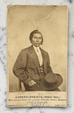 Antique Autre Jour Photo Native American CDV Sioux Uprising 1862 Whitney