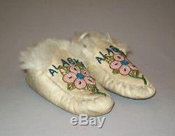 Antique Début Des Années 1900 Amérindien Alaska Perles Mocassins De Nice Eskimo Indian