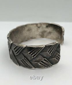 Antique Début Des Années 1920 Pawn Navajo Argent Lingot Tissé Ciselé Cuff Bracelet 51.8g