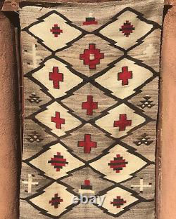 Antique Early Navajo Native American Transitional Rug Crosses & Whirling Logs