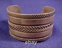 Antique Estate Best Navajo Wide Cuff Bracelet Early Old Pawn Lingot Sterling Manchette