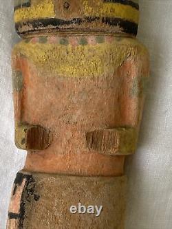 Antique Fin 19ème Début 20ème Siècle Hopi Kachina Polychrome Pigments Cottonwoo