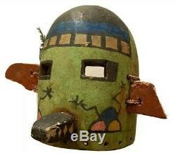 Antique Hopi Kachina Mask Early Morning Chanteur Amérindien Coiffe