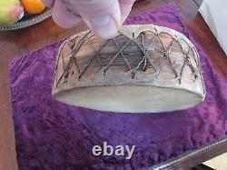 Antique Native American Drum Belle Pièce Tôt Se Cacher Sur L'écorce W. Bon Son