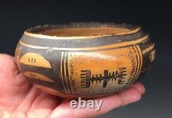 Antique Polychrome Nampeyo Hopi Poterie Ware Jaune Amérindien Début Du 20e