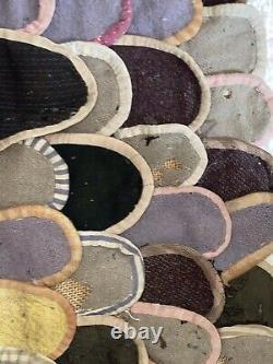 Antique Tôt Natif Américain Crocheté Penny Rug