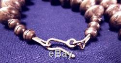 Antique Vieux Pawn Au Début Navajo Argent Massif Liberté Dimes Collier De Perles 253 Octies