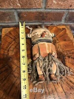 Antique Vintage Hopi Kachina Doll Début Des Années 1900 Sculpté Et Peint Cottonwood