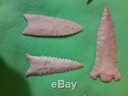 Au Début Amérindien Indien Pierre Arrowhead Artefact Lot Groupe De 9