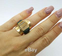 Au Début Charles Loloma Hopi 14k Gold Stone Inlay Ring, Taille 6.5, Non Signé