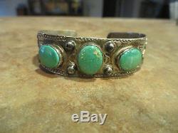 Au Début De 1900 900 Navajo Monnaie Argent Premium Turquoise Thunder Bird Bracelet
