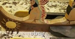 Au Début Des Années 1900 Folk Art En Bois Peint Whirligig Indiens D'amérique À Canoe