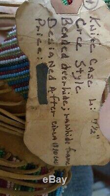 Au Début Des Années 1900 Peau De Cerf Perlée Amérindien, Cas Couteau