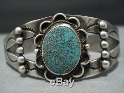 Au Début Des Années 1900 Très Rare Vintage Turquoise Navajo En Argent Sterling Bracelet Vieux